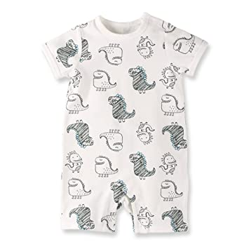 4d94e9958fe6a Baby Nest 夏 ベビー服 半袖ロンパース 女の子 男の子 肩ボタン フルプリント コットン ドラゴン-1