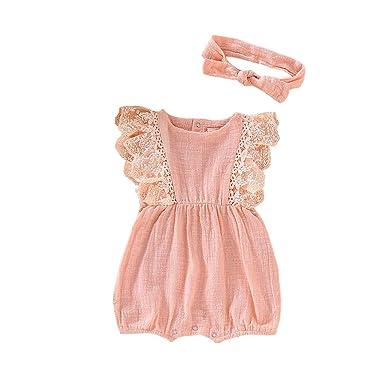 fdf22d193de 2Pcs Infant Kids Baby Girl s Lace Ruffled Romper Bodysuit Jumpsuit +Solid  Hair Band Outfit Summer