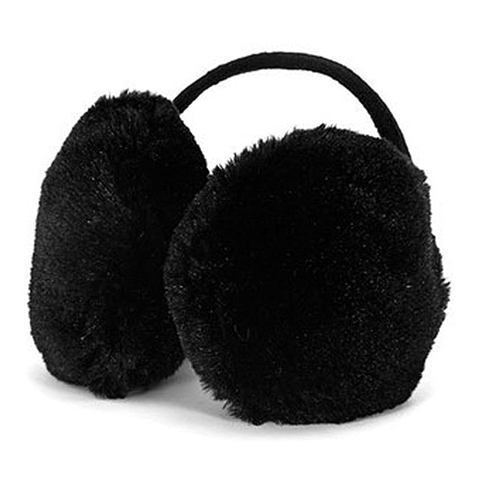 JIAHAO Faux Fur Winter Fluffy Earmuff Earwarmer Ear Muffs Warmers Behind the Head Design Plush Ear Wraps Cover Earlap Earcap Earshield Black