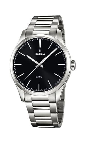 Festina - Reloj de Cuarzo para Hombre con Negro Esfera Analógica y Plata Pulsera de Acero Inoxidable F16807/2: Amazon.es: Relojes