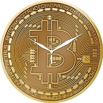 Bitcoin Wanduhr Aus Glas Goldfarben Motiv Physische Bitcoin Munze