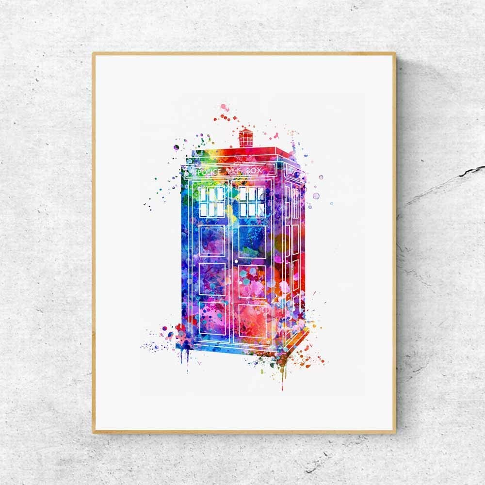 Doctor Who Tardis Art Children Watercolor Living Room Decor Box Nursery Art Poster Wall Art Decor 8x10 Inches No Frame