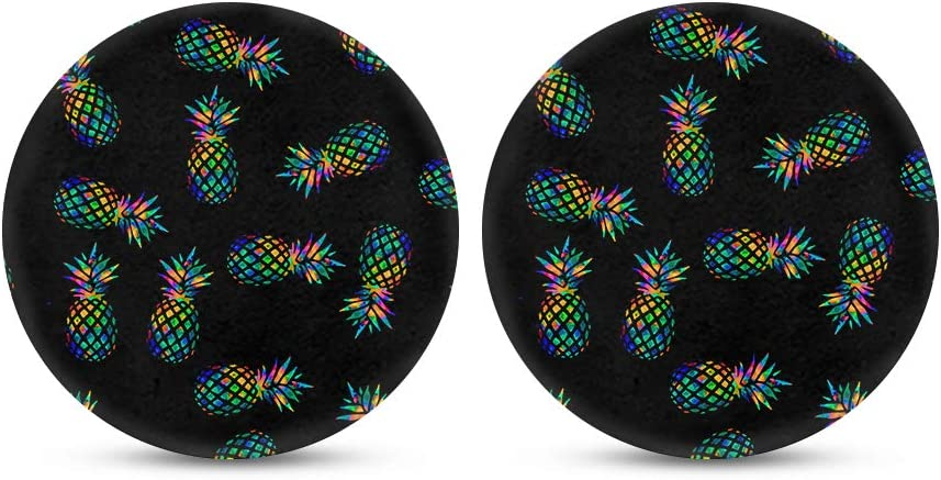 2pcs Set chaqlin African Style Car Coasters Absorbent Round Fabric Felt Neoprene Car Coasters with Non Slip Rubber Backing for Drinks