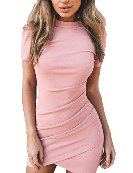 109ef0e469c6 Women s Turtleneck Dress Casual Short Sleeve Ruched Solid Bodycon Mini Dress  at Amazon Women s Clothing store