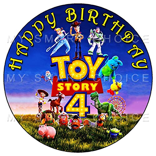 7.5 Inch Edible Cake Toppers - Toy Story 4 Fun Party Themed Birthday Party Collection of Edible Cake Decorations (Toy Story Edible Images)
