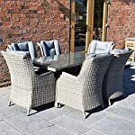 Mayfair Athens 6-Seater Rectangular Rattan Dining Set Light Brown Grey Weave with Grey Cushion