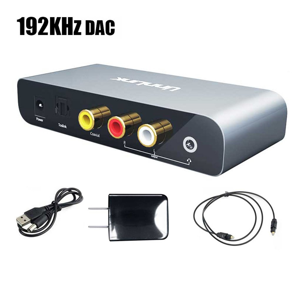 Unnlink Upgraded Audio DAC Audio Decoder 192KHz 24Bit DAC Digital to Analog Audio Converter Digital Optical Coaxial Toslink to Analog Stereo RCA L/R 3.5mm Audio Adapter for HDTV PS3 PS4