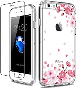 GiiKa iPhone 6 6s Case with Screen Protector, Clear Heavy Duty Protective Case Floral Girls Women Shockproof Hard PC Back Case with Slim TPU Bumper Cover Phone Case for iPhone 6s, Pink Floral