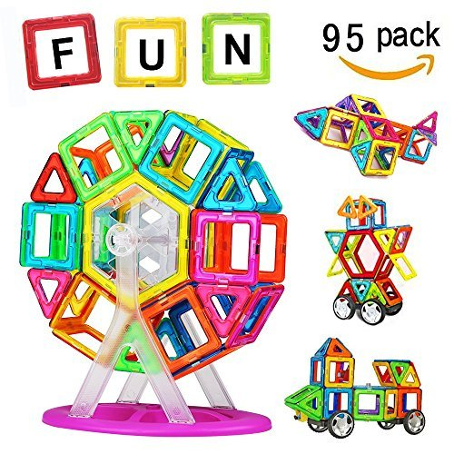 Crenova Magnetic Blocks 92Pcs Construction Set Included Ferris Wheels Carrying Bag Booklet