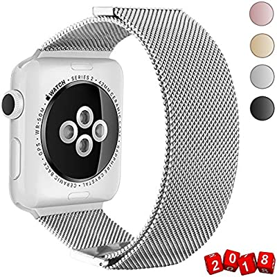 GEOTEL Band for Apple Watch 38mm 42mm, Stainless Steel Milanese Loop with Adjustable Closure Metal iWatch Band for Apple Watch Series 3 Series 2 Series1 (MAGNETIC CLOSURE-SILVER, 42 mm)