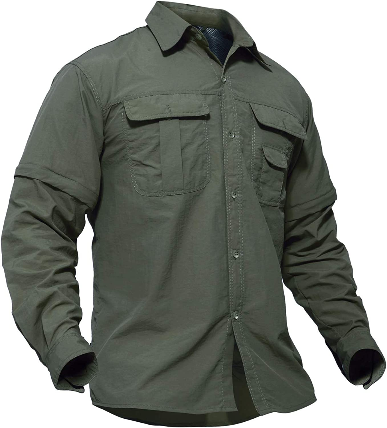 TACVASEN Mens Breathable Quick Dry UV Protection Solid Convertible Long Sleeve Shirt