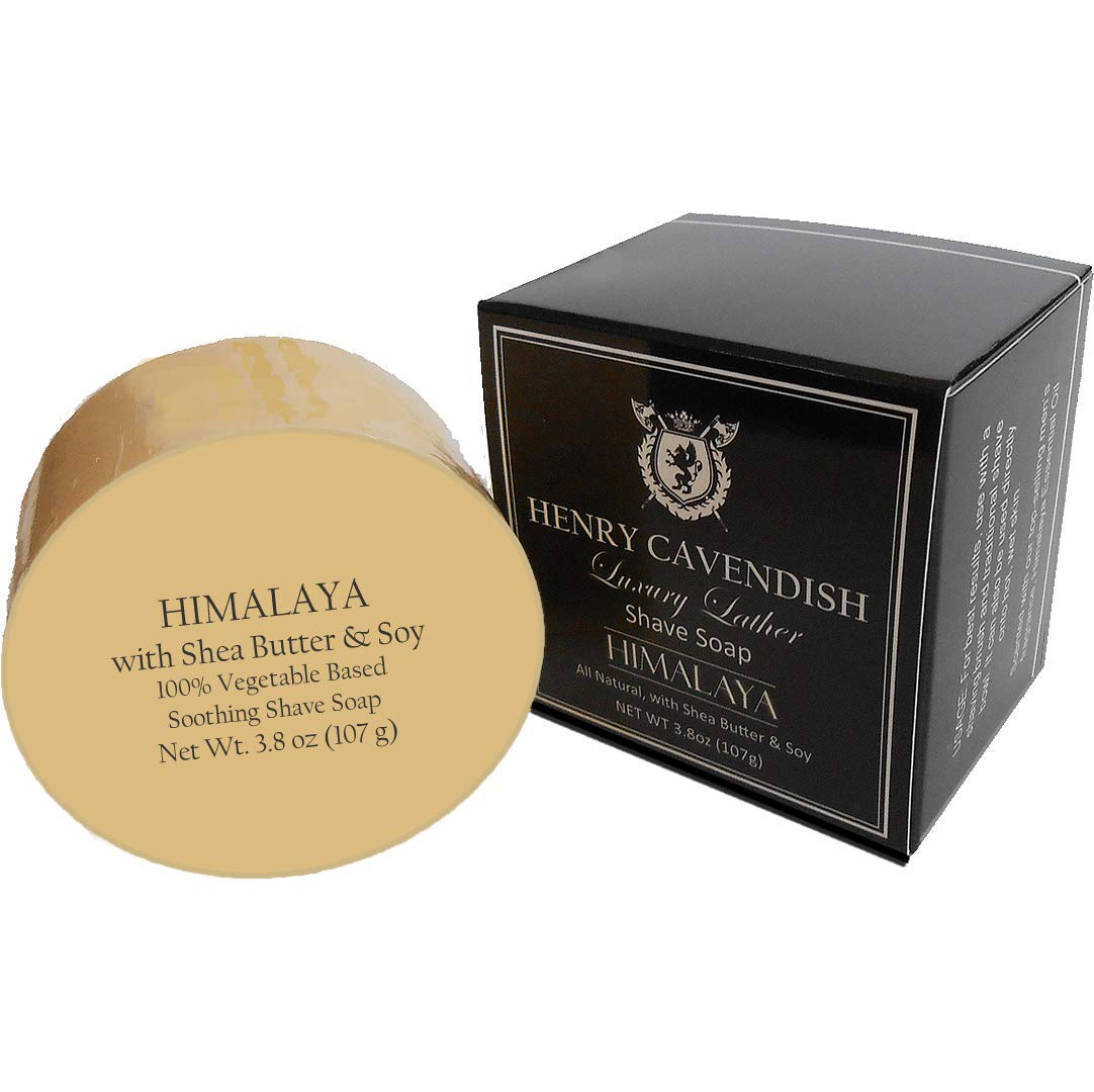 Henry Cavendish Himalaya Shaving Soap with Shea Butter & Coconut Oil. Long Lasting 3.8 oz Puck Refill. Mens Shave Soap. All Natural. Rich Lather, Smooth Comfortable Shave. For Ladies and Gentlemen.