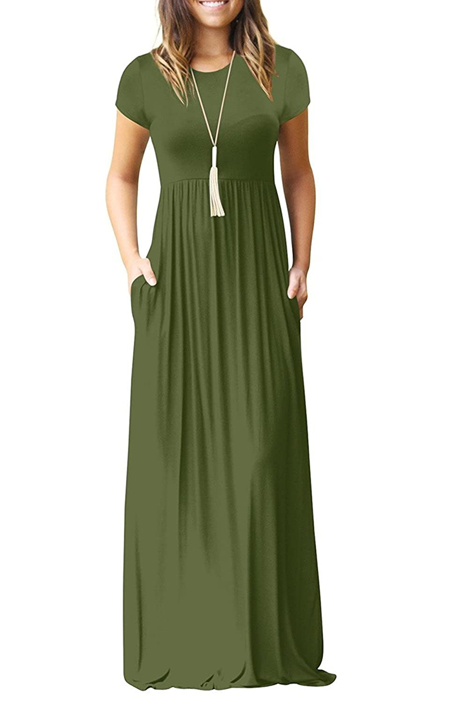 7fa95da7f4c6 Euovmy Women s Short Sleeve Loose Plain Maxi Dresses Casual Long Dresses  with Pockets at Amazon Women s Clothing store