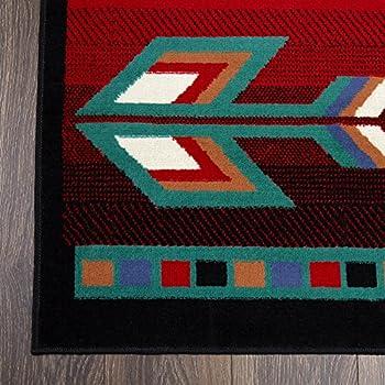 "Home Dynamix Premium Sagrada Area Rug by Modern Southwestern Style Living Room Rug   Bold Aztec Print   Black, Red, Multicolor Pattern 52"" x 74"""