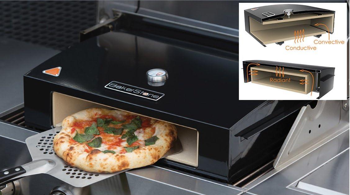 Pizza para horno Bakerstone espacio en el barbacoa de Gas grande 35,56 cm con piedra cerámica Pizzer de horno