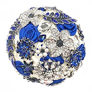 Abbie Home Luxury Customized Sparkling Royal Blue Rhinestone Gem Covered Wedding Brooch Bouquet Bridal Pearls and Jewelry 63