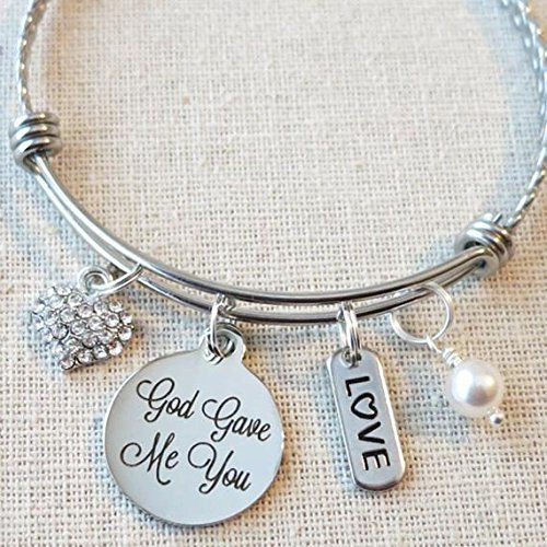 God Gave Me You Bracelet, Gift from Mom to Daughter Bangle Bracelet, Blended Family Gifts for Her, Wedding Gift to Wife, Adoption Gifts, Religious Jewelry, Gift for Stepdaughter