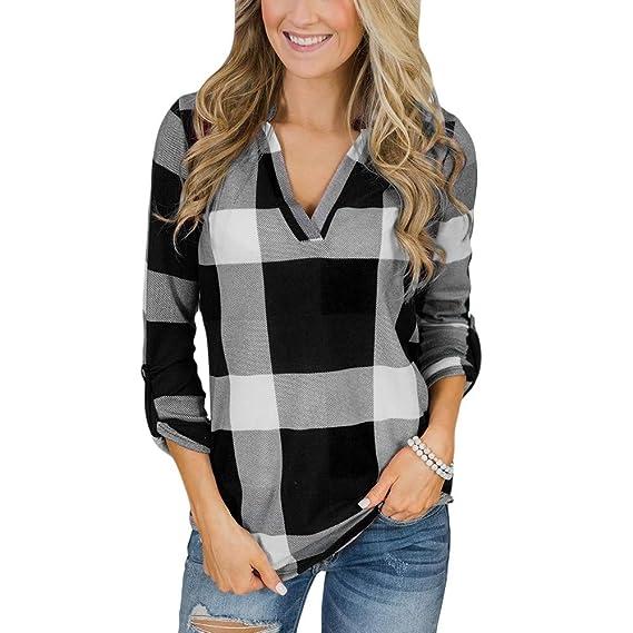 e2927f611 ZODOF Mujer Camiseta Roll Up Manga Larga con Cuello en V botón de Tela  Escocesa impresión