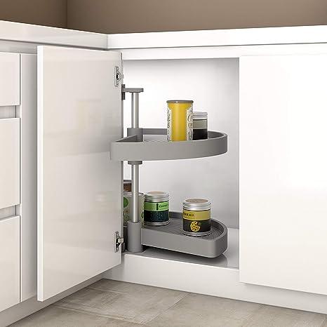 Gedotec Halbkreis-Schwenkbeschlag Küche Drehbeschlag mit Tablarboden für  Eckschrank | Drehteller für Unter-Schrank | 900 x 550 mm | MADE IN GERMANY  | ...