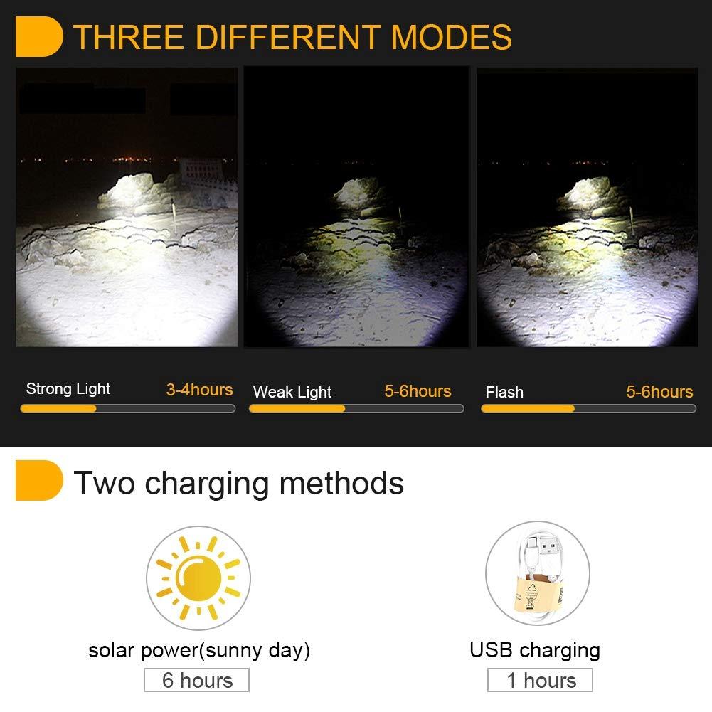 linterna para autom/óvil aleaci/ón de aluminio Linterna LED t/áctica impermeable con cable de carga Perfecto para acampar al aire libre de emergencia Senderismo Linterna solar LED