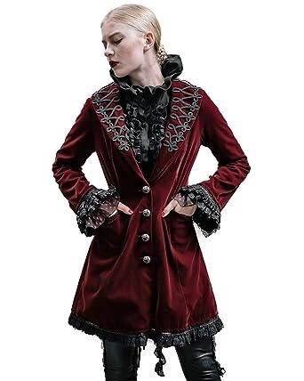6c10baa47 Devil Fashion Akacia Womens Jacket Frock Coat Red Velvet Goth Steampunk  VTG: Amazon.co.uk: Clothing