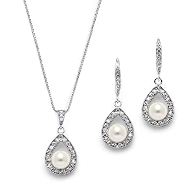 8167ba1d4 Image Unavailable. Image not available for. Color: Mariell Wedding Necklace  and Earrings Pearl Jewelry Set with Inlaid CZ Frame for Bridesmaids & Brides