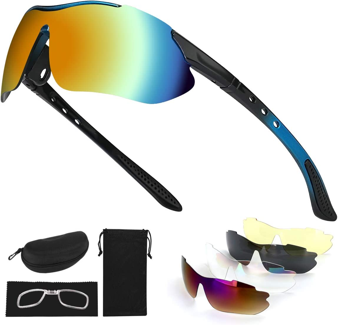 Tancci Sports Cycling Sunglasses, Bicycle Glasses with 5 Interchangeable Lenses-Ergonomic with Reducing Harmful UVA & UVB Rays for Men&Women Running/Golf/Fishing/Cycling/Outdoor Sports