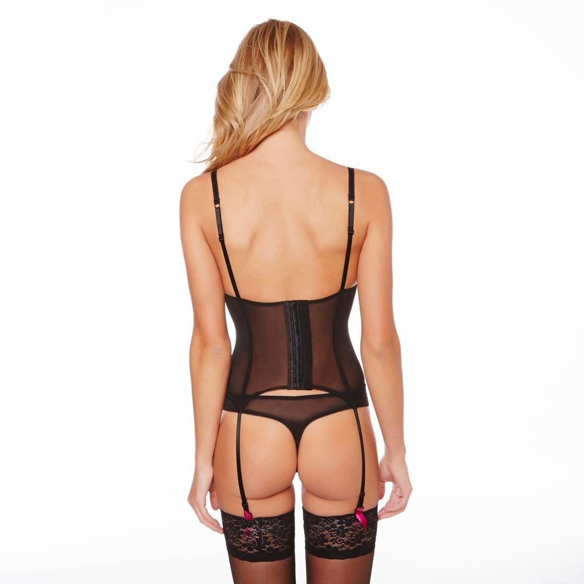 Pomm poire - Guêpière Push-up Noir Pivoine Saphir - Femme  Amazon.fr   Vêtements et accessoires dbfe5b3bc26