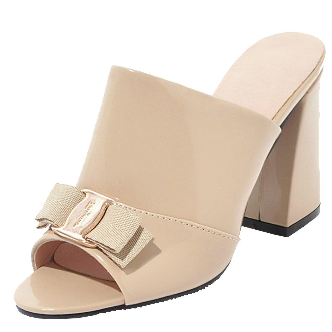 UH Damen Chunky Heel Pantoletten Peep Toe Slingback Slipper mit Schleife Metall Blockabsatz Schuhe