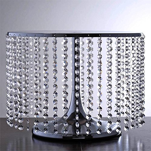 BalsaCircle 12-Inch Tall Silver Round Crystal Pendants Metal Cake Stand - Birthday Party Wedding Dessert Pedestal Centerpiece Riser