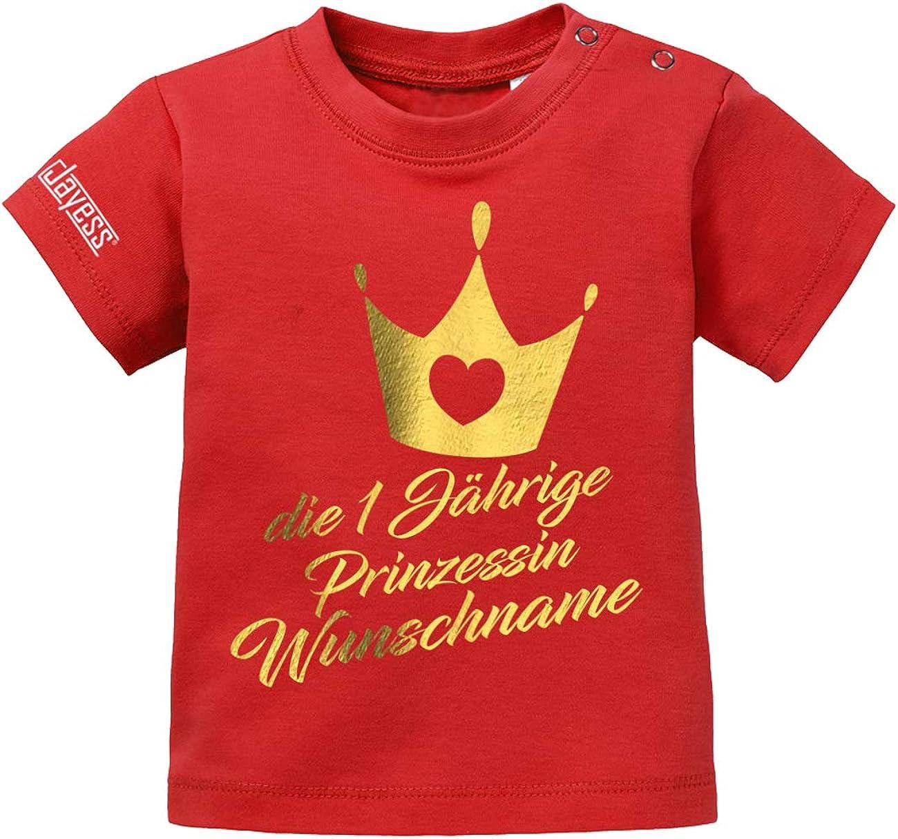 die einj/ährige Prinzessin Wunschname Jayess Baby Shirt M/ädchen zum 1 Geburtstag personalisierbar mit Kindername