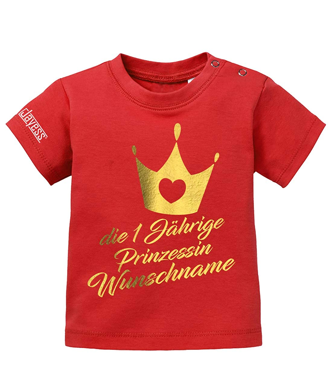 Jayess Baby Shirt M/ädchen zum 1 Geburtstag personalisierbar mit Kindername die einj/ährige Prinzessin Wunschname
