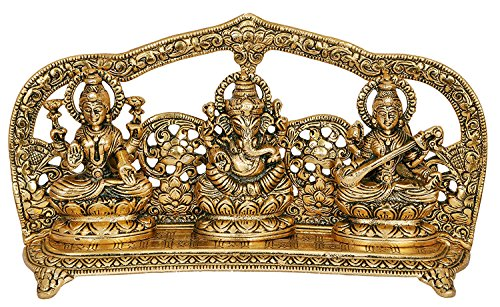 CraftVatika Goddess Laxmi Ganesha Saraswati Idol - Lakshmi Ganesh Saraswati Murti - Decorative Item - Showpiece Idols Statue - Home Decor (Item Decorative Home)