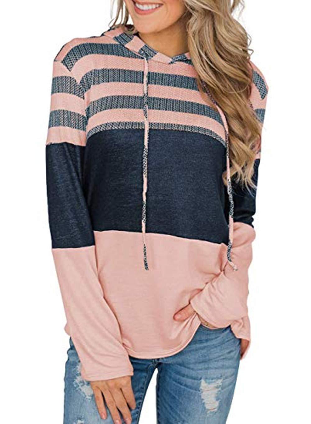 Kelove Women Hoodies Long Sleeve Drawstring Sweatshirts, Color Block Striped Pullover Women Tops Pink by Kelove