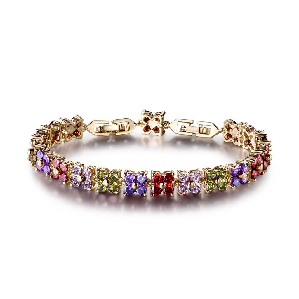 GULICX Women's Gold Plated Copper Austrian Crystal Women Tennis Bracelet Multicolor