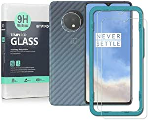 Screen Protetor for OnePlus 7T 2 PACKS with Camera Lens Tempered Glass Protector,Back Carbon Fiber Skin Protector,Including Easy Install KIT, IBYWIND