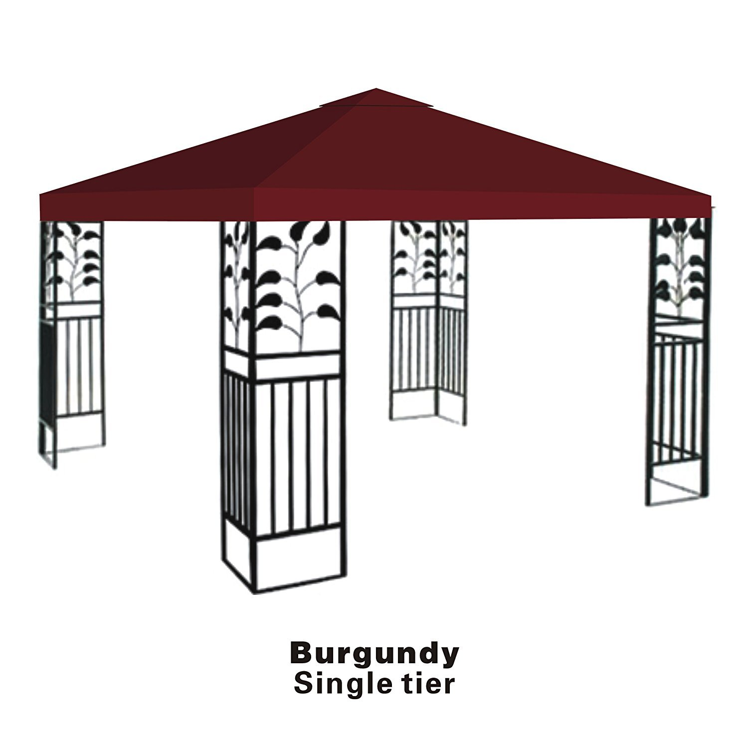 BenefitUSA Replacement top cover for 10'X10' gazebo canopy patio pavilion sunshade plyester single tier-BURGUNDY