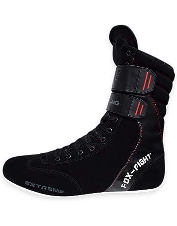 FOX-FIGHT FF2956 - Zapatillas de Boxeo de Cuero para Hombre Negro Negro