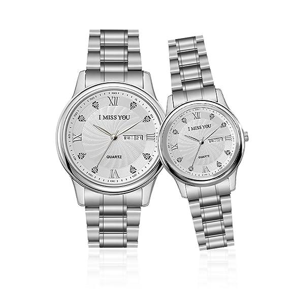 simple impermeable reloj/Pares relojes/-Banda de cuarzo reloj de acero inoxidable-B: Amazon.es: Relojes