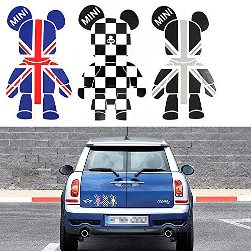 3 Pcs Mini Cooper Cute Cool Bears Exclusive Car Window Reflective Decals Stickers Checkered Union Jack UK Flag Sporty Style For Car Truck Window Trunk Door or Laptop refrigerator etc
