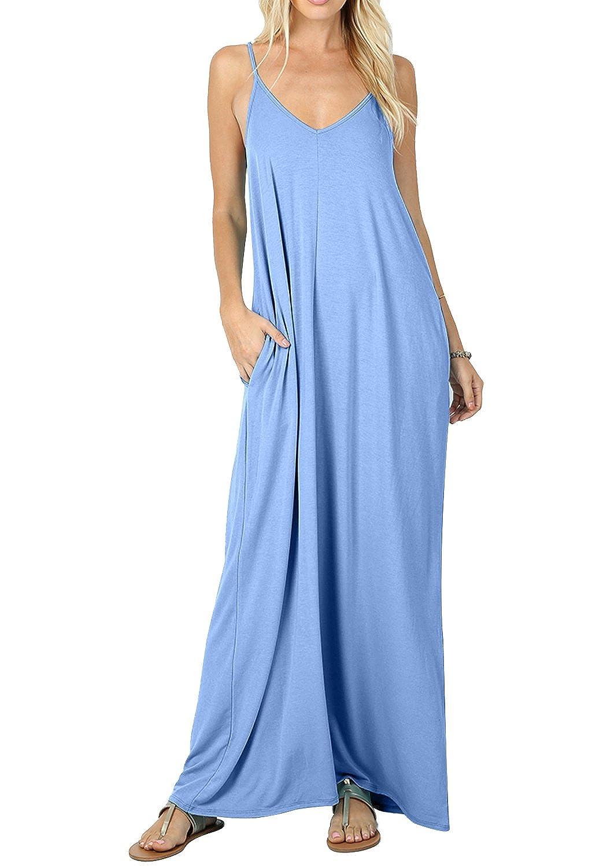 CALIPESSA Women's Summer Casual Plain Flowy Pockets Loose Beach Cami Maxi Dress