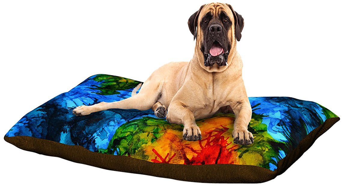 X-Large 40\ Kess InHouse Claire Day Flow  bluee Green Dog Bed, 30 by 40-Inch