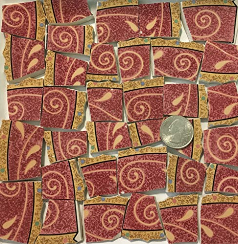 Mosaic Art & Crafts Supply ~ Red Abstract Tiles (B847)