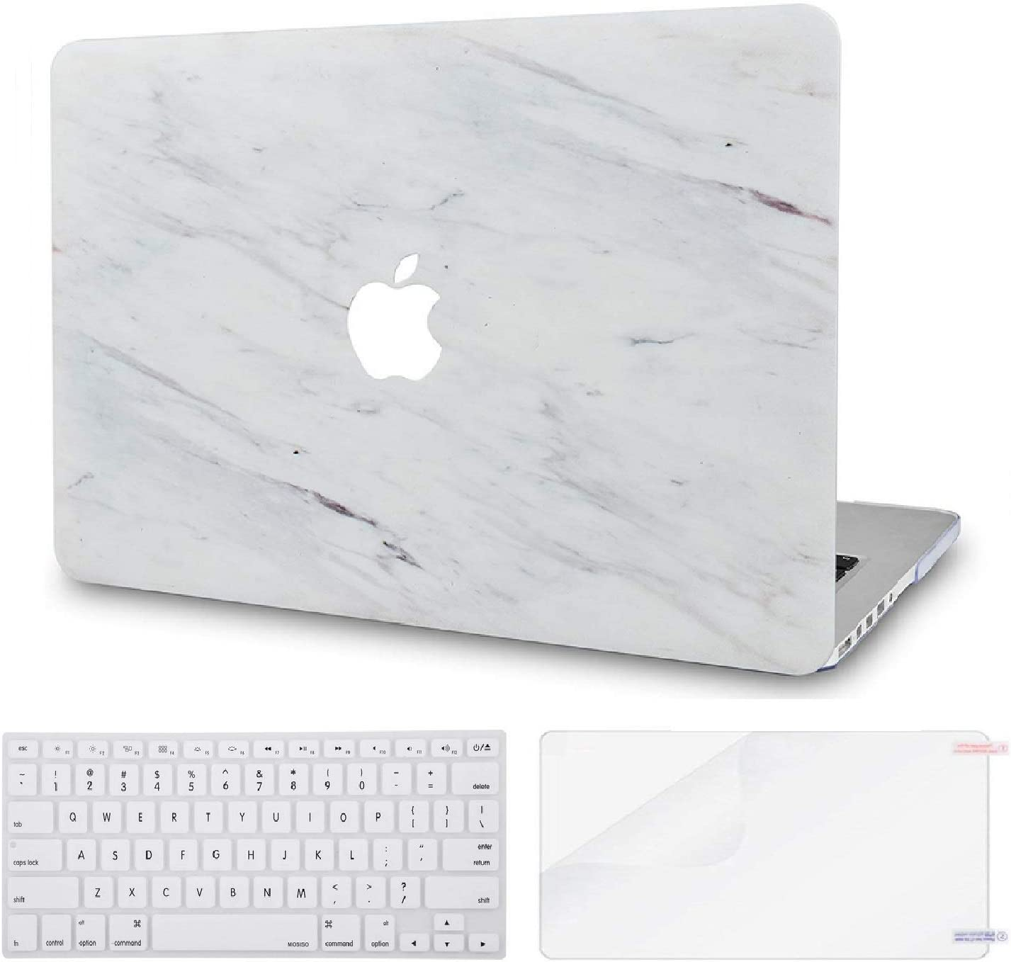 "LuvCase 3 in 1 Laptop Case for MacBook Pro 13"" (2020/2019/2018/2017/2016) w/wo Touch Bar A2159/A1989/A1706/A1708 Hard Shell Cover, Keyboard Cover & Screen Protector (Silk White Marble)"