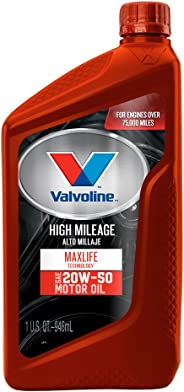 Valvoline High Mileage with MaxLife Technology SAE 20W-50 Synthetic Blend Motor Oil 1 QT, Case of 6