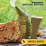 Hoont Commercial Grade Bee Smoker for Beekeeping - Heavy Duty Stainless Steel with Metal Heat Shield and Metal Hook - Superior Airflow Bellow and Excellent Smoke Output