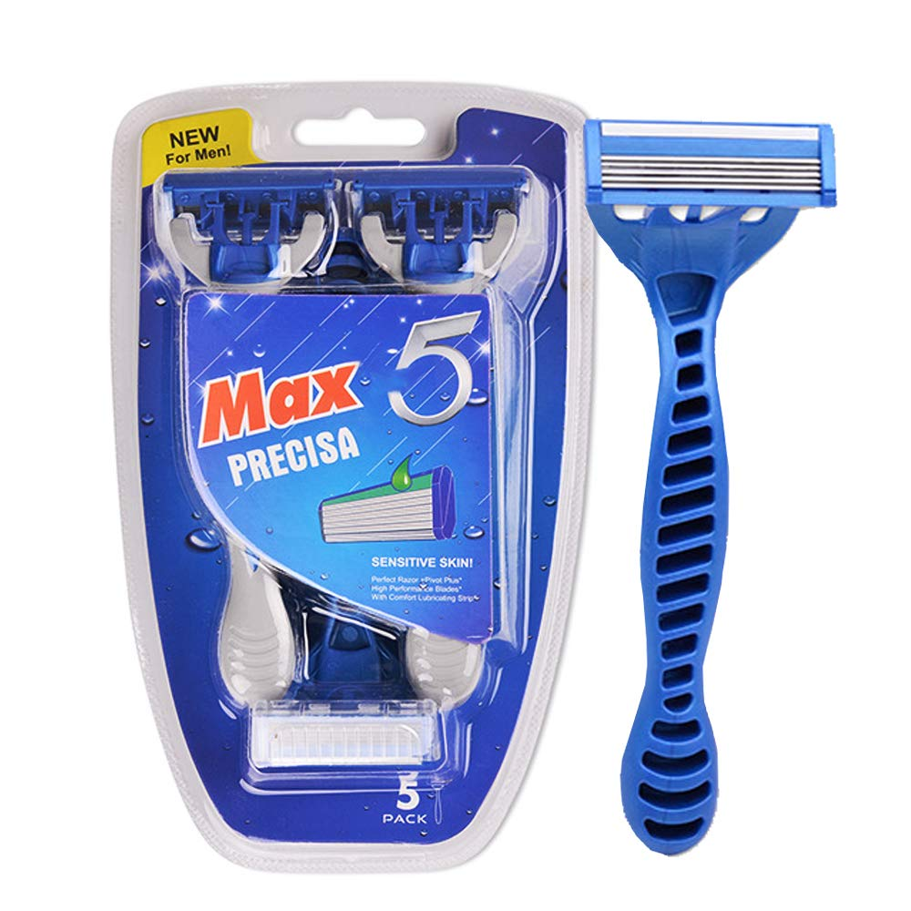 Disposable Razor for Men/Women, Safety Beard Hair Cleaning Men Hotel 5 Blade Manual Shavers Personal Trimmer for business trip, travel, hotels and motels, gyms, resorts (Blue)