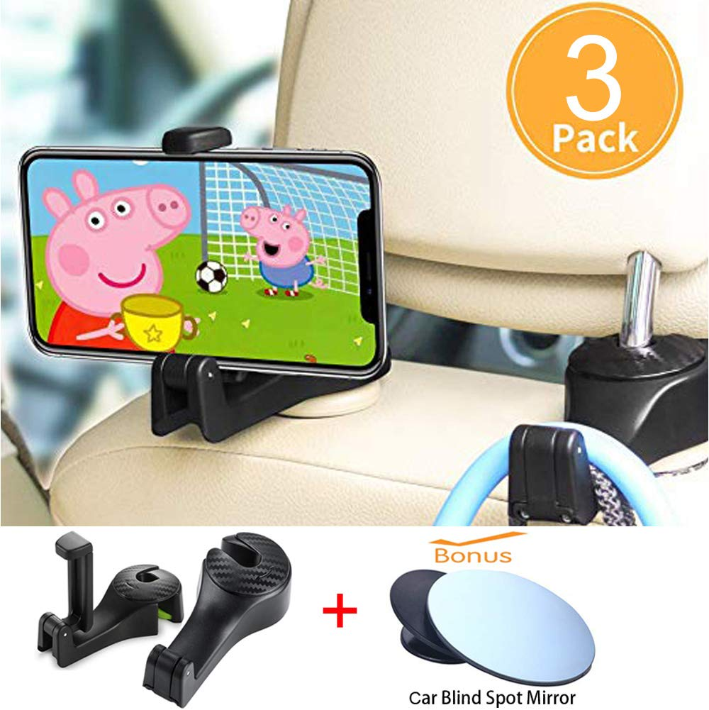 Starlife Car Hooks with Phone Holders, Vehicle Back Seat Headrest Storage Organizer Hanger for Groceries, Purses, Handbags, Schoolbags, Toys and More (2 PCS, Black)