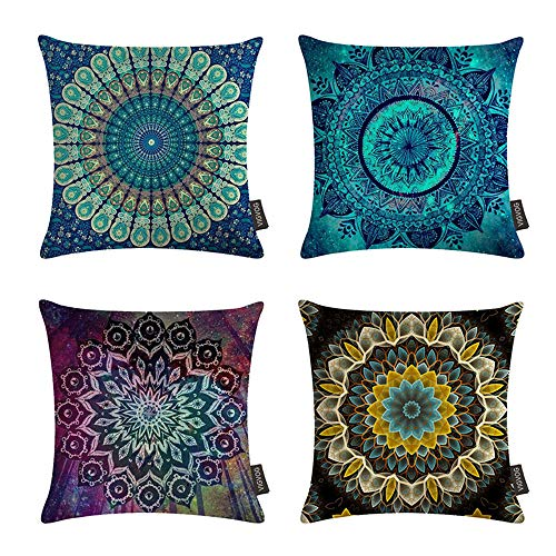 VIGVOG 4 Pack Boho Double Printed Pillow Cover Compass Medallion Cushion Cover Throw Ethnic Colorful Floral Pillow Case 18 X 18 Inch Pillowcase(Boho 03)]()