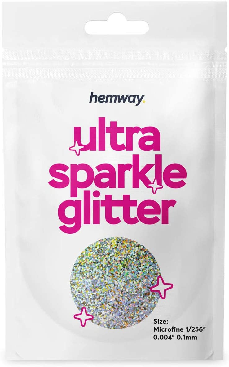 Hemway Silver & Gold Holographic Glitter 10g / 0.35oz Sample - Microfine 1/256